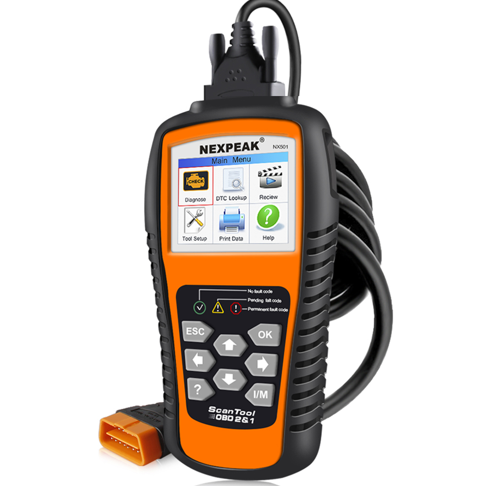 NEXPEAK NX501 Enhanced OBDII Auto Code Scanner Colorful Screen 10 Modes OBD Diagnostic Tool Emission SMOG Checker